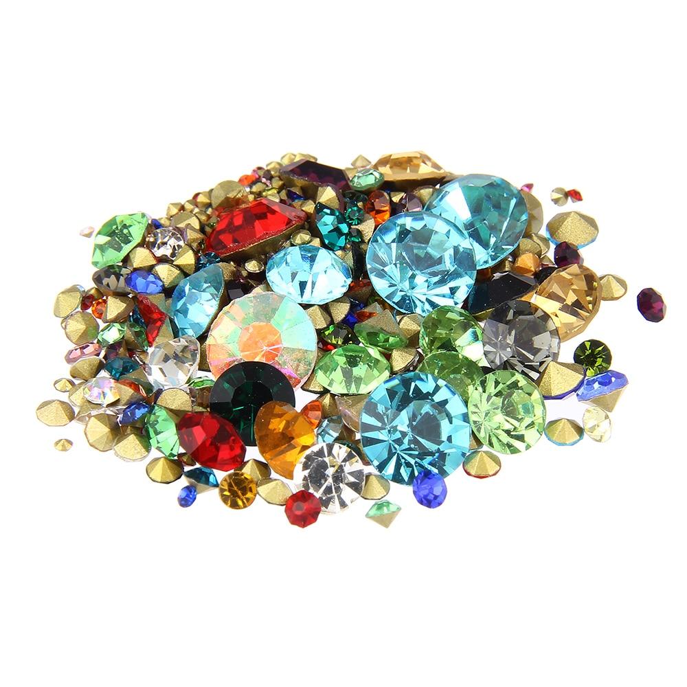 Nail Art Rhinestones Mixed Color Mini Pointback Crystal Stones Loose Strass Bead DIY Nail Art Decoration твой стилист nail art цифровая версия