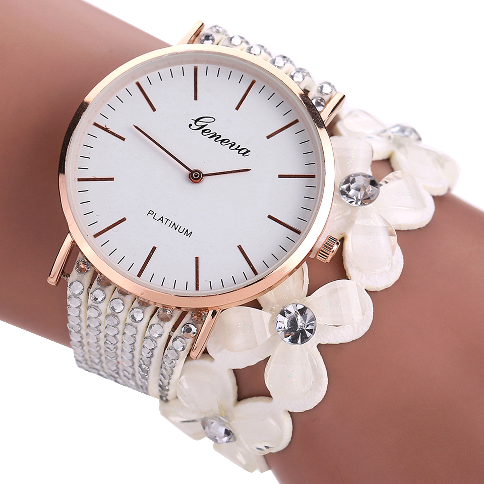 Geneva Flowers Watches Women Dress Elegant Quartz Bracelet Ladies Watch Crystal Diamond Wrist Watch Reloj Mujer