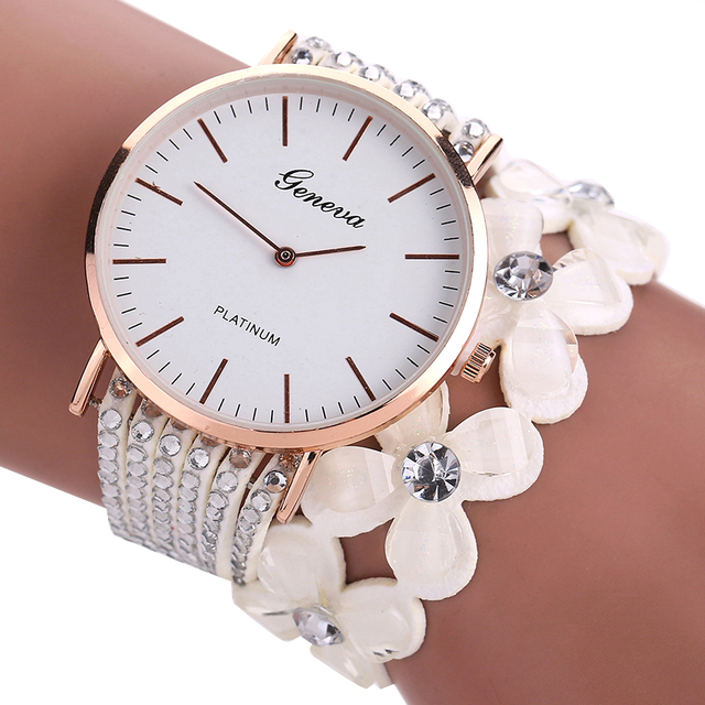 Women's Elegant Flowers Decorated Band Wristwatches