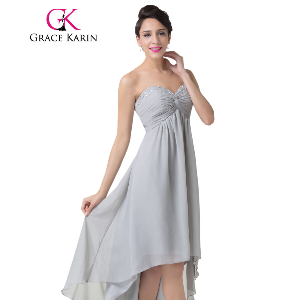 Grace Karin Sweetheart Ruched Grey Prom Dresses Short Front Long ...