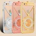 Роскошный Кристалл Rhinestone Телефон Case Для iPhone 6 6 S 6 Plus 6 S Плюс Металлический Каркас Алмазов Защитная Сумка с Грушей Чиан