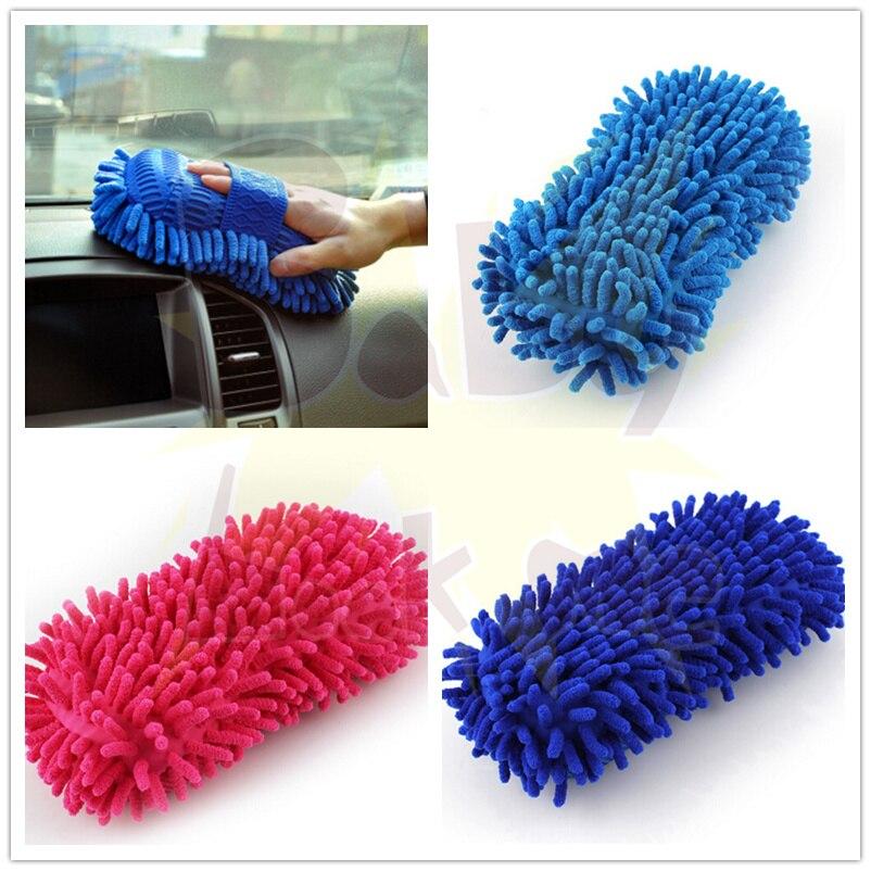 Mano coche toalla suave microfibra chenille Guantes para lavar coral  Guantes auto 6ff100b72e74