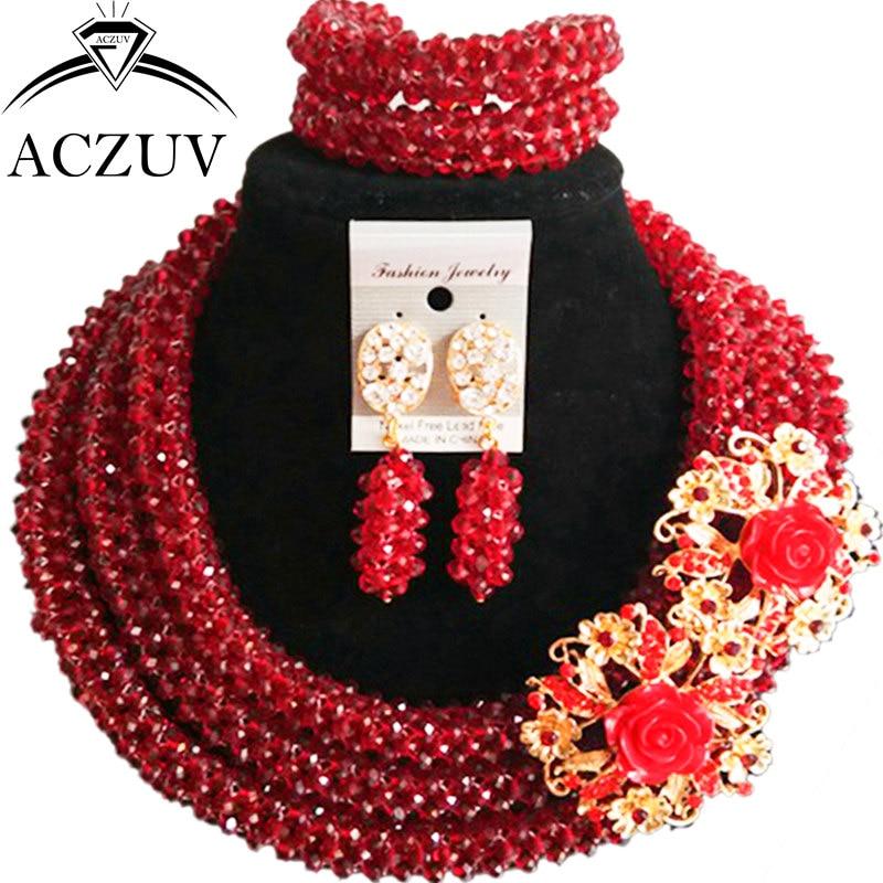 ACZUV Latest Wine Crystal African Necklace Nigerian Beads Wedding Jewelry Sets B3R017