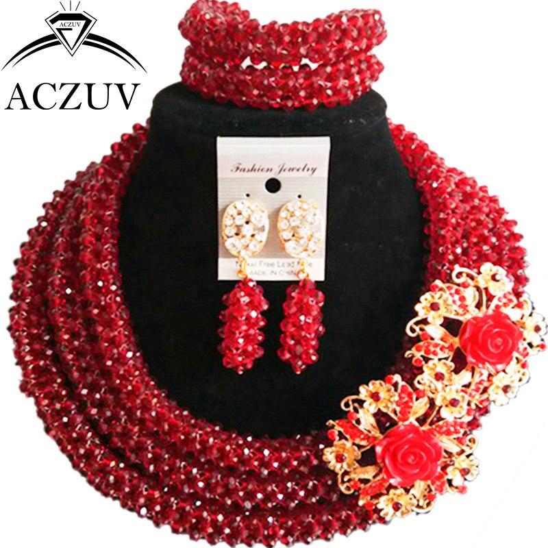 ACZUV Ultima Vino di Cristallo Collana Africana Nigeriano Beads Wedding Jewelry Sets B3R017ACZUV Ultima Vino di Cristallo Collana Africana Nigeriano Beads Wedding Jewelry Sets B3R017