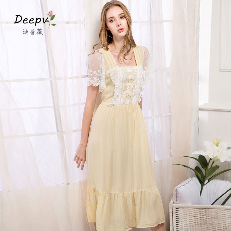 dcfd44ac9 New Arrivals Women Nightgowns Sleepshirts Sleepwear Solid Home Dress Cute Nightdress  Sexy Sleep   Lounge Lace Nightgown Female