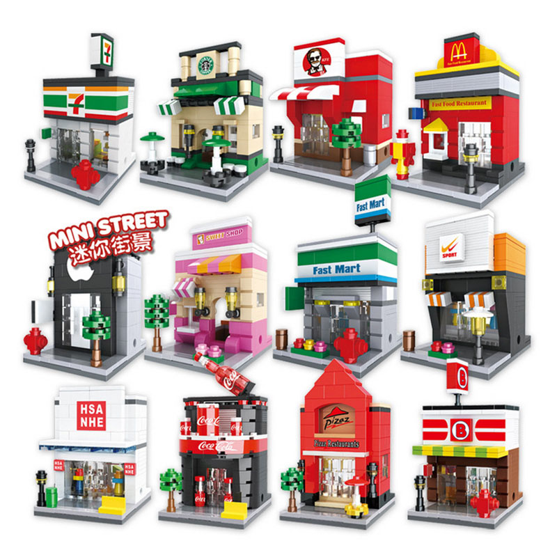 Lepin Pogo Bela HSH6401-6413 Streetscape Store Girls  Cartoon Figures Educational Building Blocks Bricks Compatible Legoe Toys prorab 6401 нк