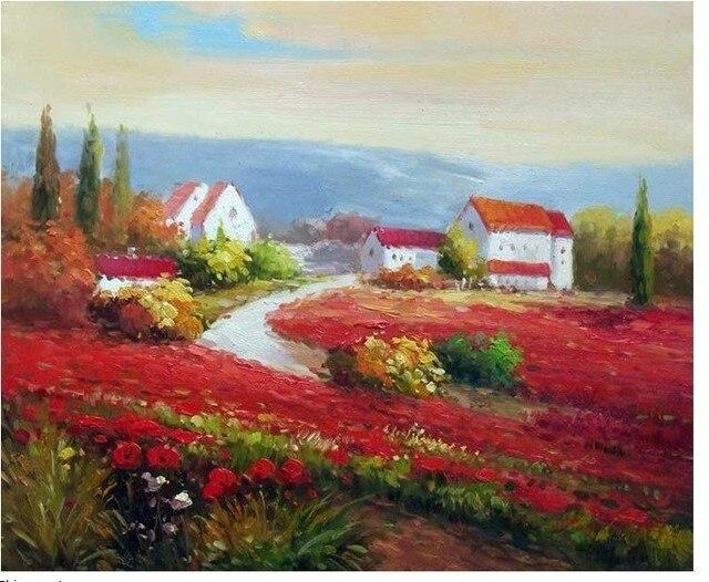 toscana pomeriggio papaveri rossi pittura a olio di paesaggio in ...