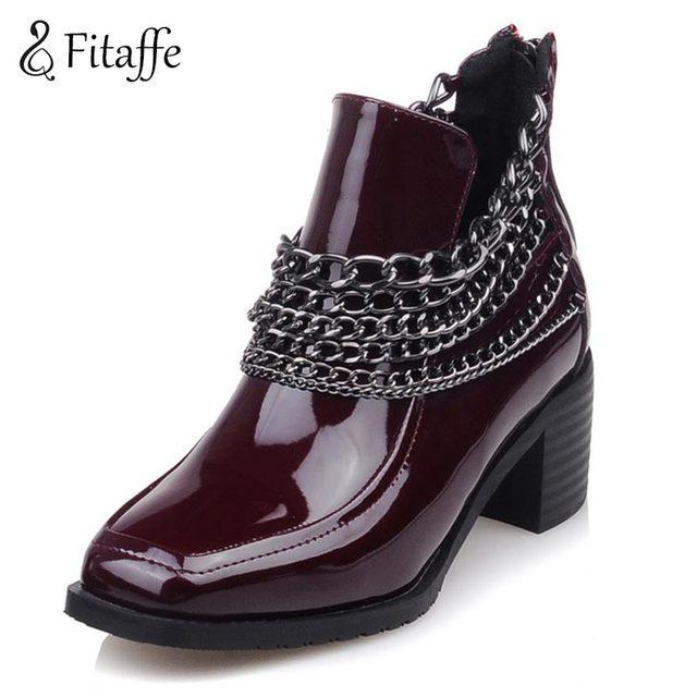 cf18bb19b9 FITAFFE Botines Negros de Las Mujeres Tacones Gruesos Punky Botas de Charol  Mujer Chanins Zapatos Mujer