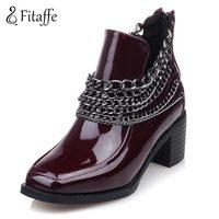 FITAFFE Shoes Woman Fashion Unique Metal Chain Woman Boots Plus Size 33 48 Mature Woman Shoes