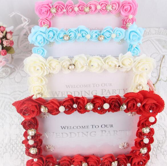 Artificial Rose Flower Rhinestone Pearl Photo Frame Wedding Reception Table Place Decoration For Wedding Party Valentines Day
