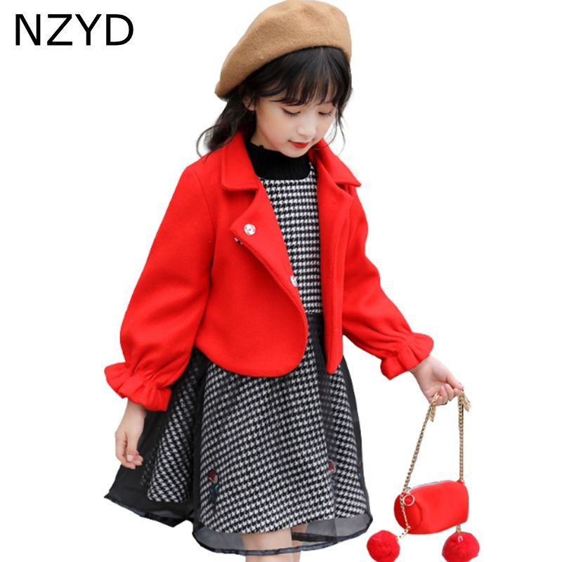 New Fashion Autumn Winter Girl Suit 2017 Han edition Children Woollen Coat + Vest Dress Sweet Casual Kids Clothes 2psc Set DC702 мужская футболка gildan slim fit t tee lol 14415