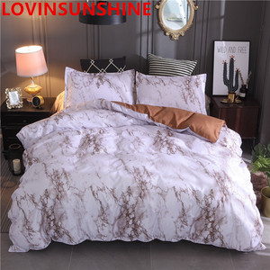 Image 5 - LOVINSUNSHIN Printed Marble Bedding Set White Black Duvet Cover King Queen Size Quilt Cover Brief  Comforter Cover aa33#