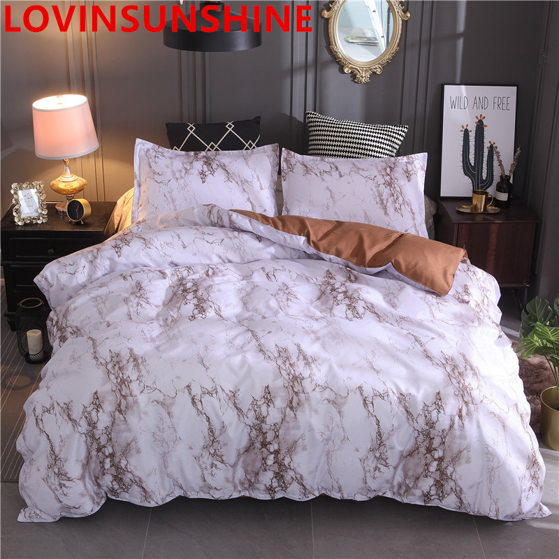 Image 5 - Printed Marble Bedding Set White Black Duvet Cover King Queen Size Quilt Cover Brief Bedclothes Comforter Cover 3Pcs-in Bedding Sets from Home & Garden