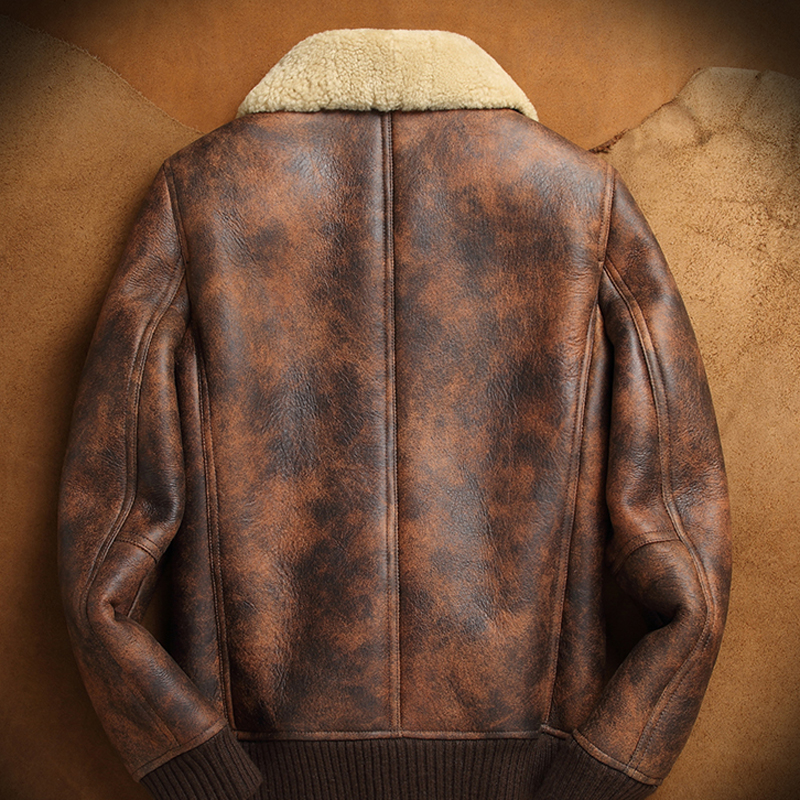 Men/'s B3 Bomber Vintage Rust Tan Brown Fur Collar Lambskin Winter Leather jacket