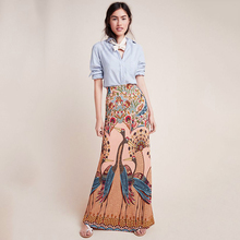 VZFF Multicolor Womens Peacock Open Screen Printing Package Hip High Waist Casual 2019 Autumn And Winter New Long Skirt