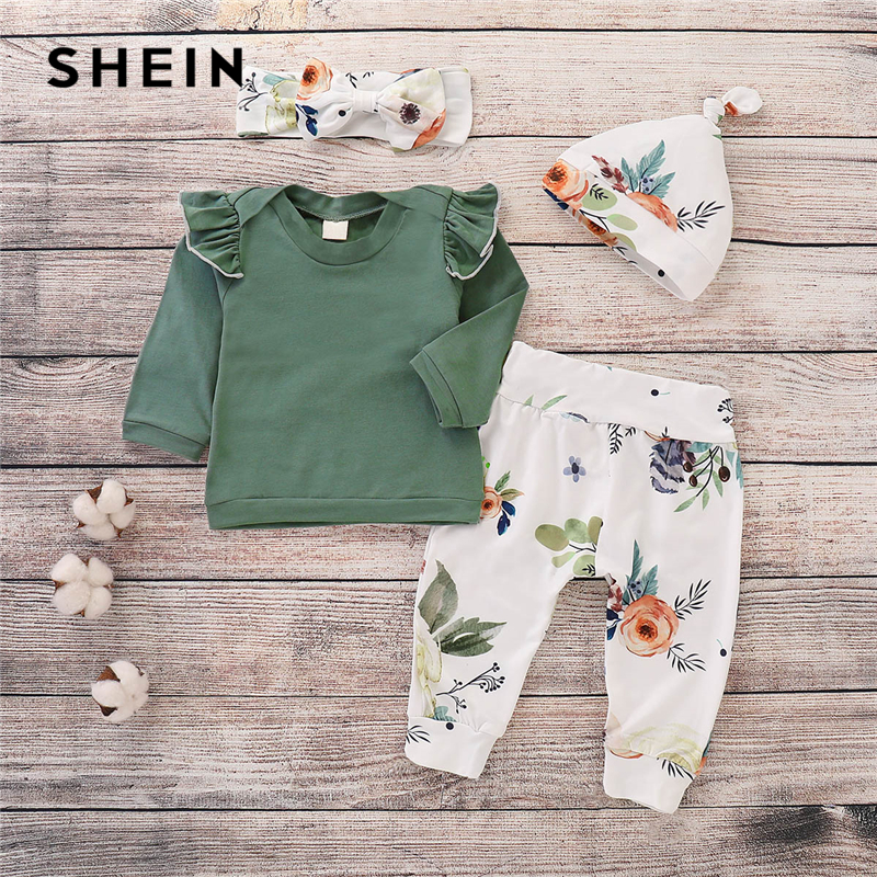 SHEIN Kiddie Girls Green Frill Tee And Floral Print Pants With Headband And Hat Suit Set 2019 Spring Fashion Casual Kids Clothes casual cat print ringer tee