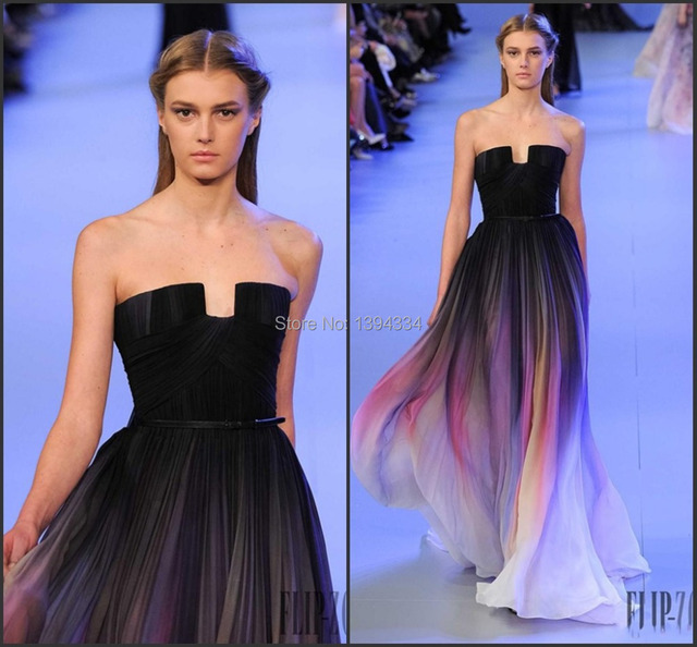 4102f10a26 2015 Elie Saab Ombre Pleats Prom Dresses A-Line Strapless Sleeveless  Evening Gowns Formal Dress Colourful Custom Made Charming