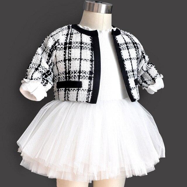 2 pcs new em bé sinh ra cô gái ăn mặc bộ trẻ em cotton kẻ sọc 1 năm cô gái bé sinh nhật ăn mặc toddler phép rửa bé quần áo 0-3 6 tháng