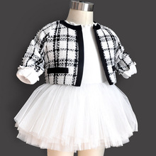 2pcs new born baby girl dress set kids cotton plaid 1 year girl baby birthday dress toddler baptism baby clothes 0-3 6 months