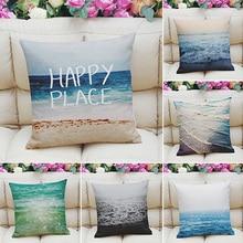 Fashion Square Sea Style Linen Throw Pillow Case Decorative Cushion Pillow Cover