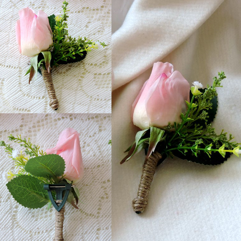 Handmade Real Touch Artificial Rose Groom Boutonniere Blazer Suit Corsage Brooch Flower Pink Wedding Church Decor F488
