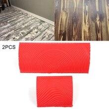 2 teile/satz Rot DIY Gummi Holzmaserung Körnung Muster Wand Malen Malerei Werkzeug Wooedn Boden Malerei Werkzeuge für Home Dekoration