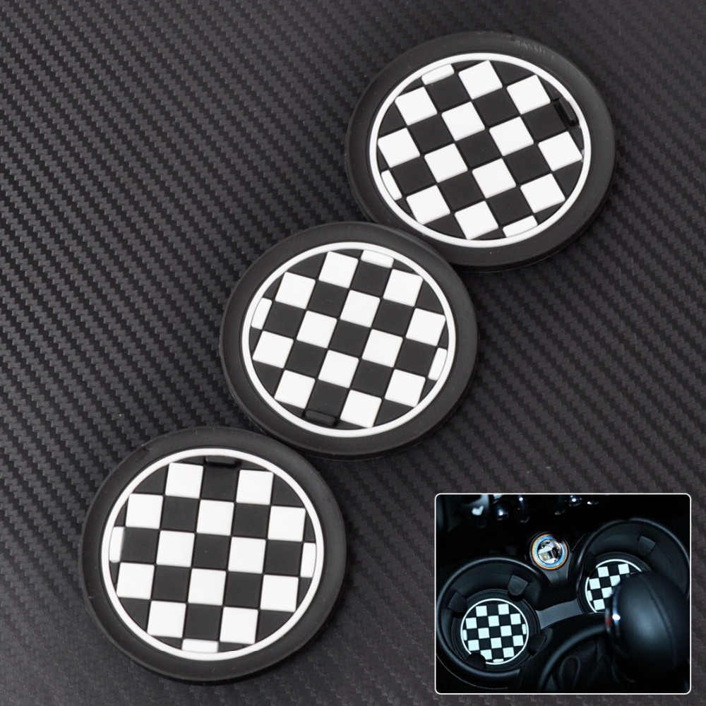 CITALL 3 pcs Xadrez Patten Anti-Slip Esteira Do Copo para Mini JCW R57 R55 R56 R58 R59 union jack esteira do copo esteira do copo do carro