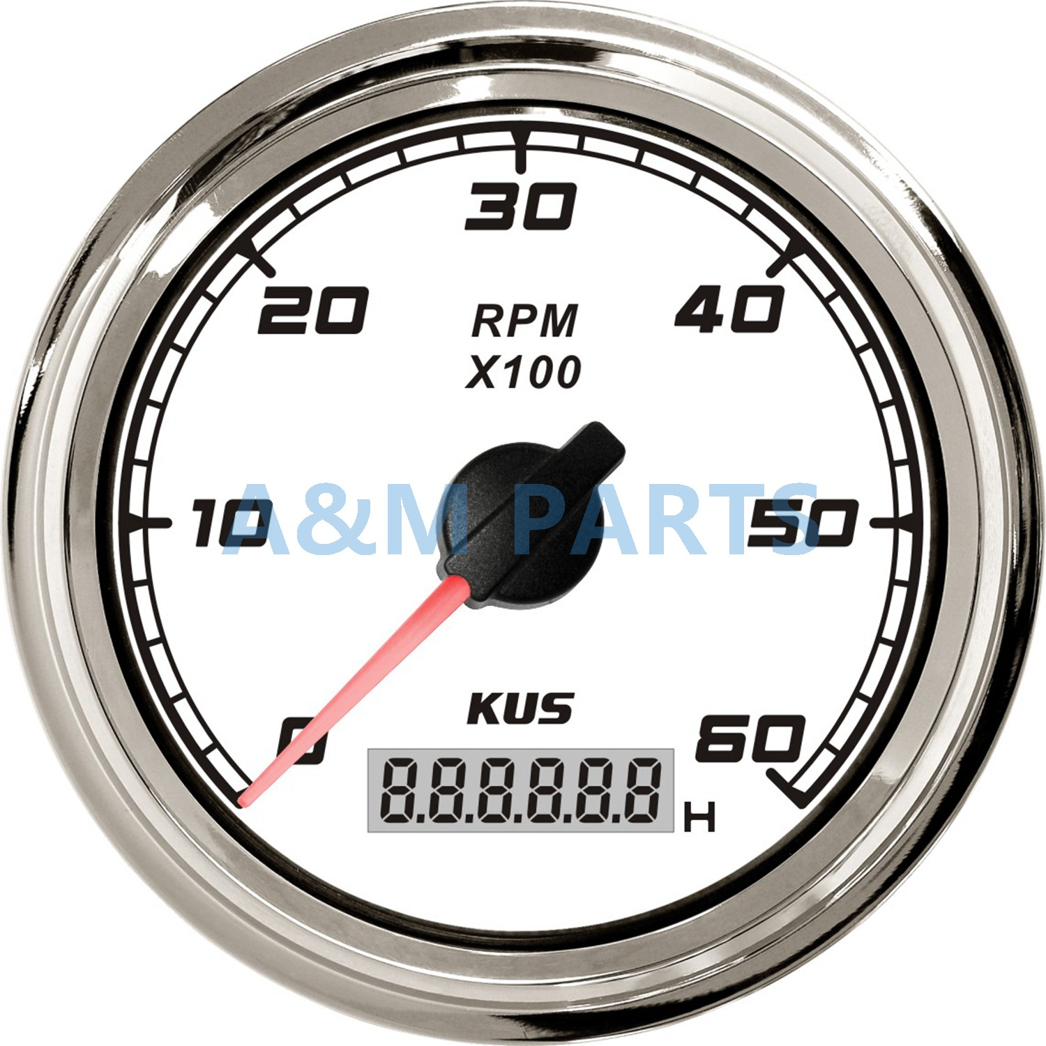 KUS Marine Tachometer Car Truck Boat Tacho Gauge With LCD Digital Hourmeter Waterproof 0-6000 RPM Speed Ration 0.5-250 85mm kus marine outboard tachometer with led hourmeter boat truck car rv waterproof rpm meter 6000 rpm 85mm speed ration 1 10