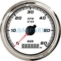 KUS Marine Tachometer Car Truck Boat Tacho Gauge With LCD Digital Hourmeter Waterproof 0 6000 RPM