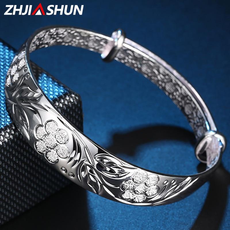 ZHJIASHUN 100% Real 999 Sterling Silver Bracelets Retro Flowers Bangles Resizable Jewelries for Women Best Christmas Gift zhjiashun genuine 100