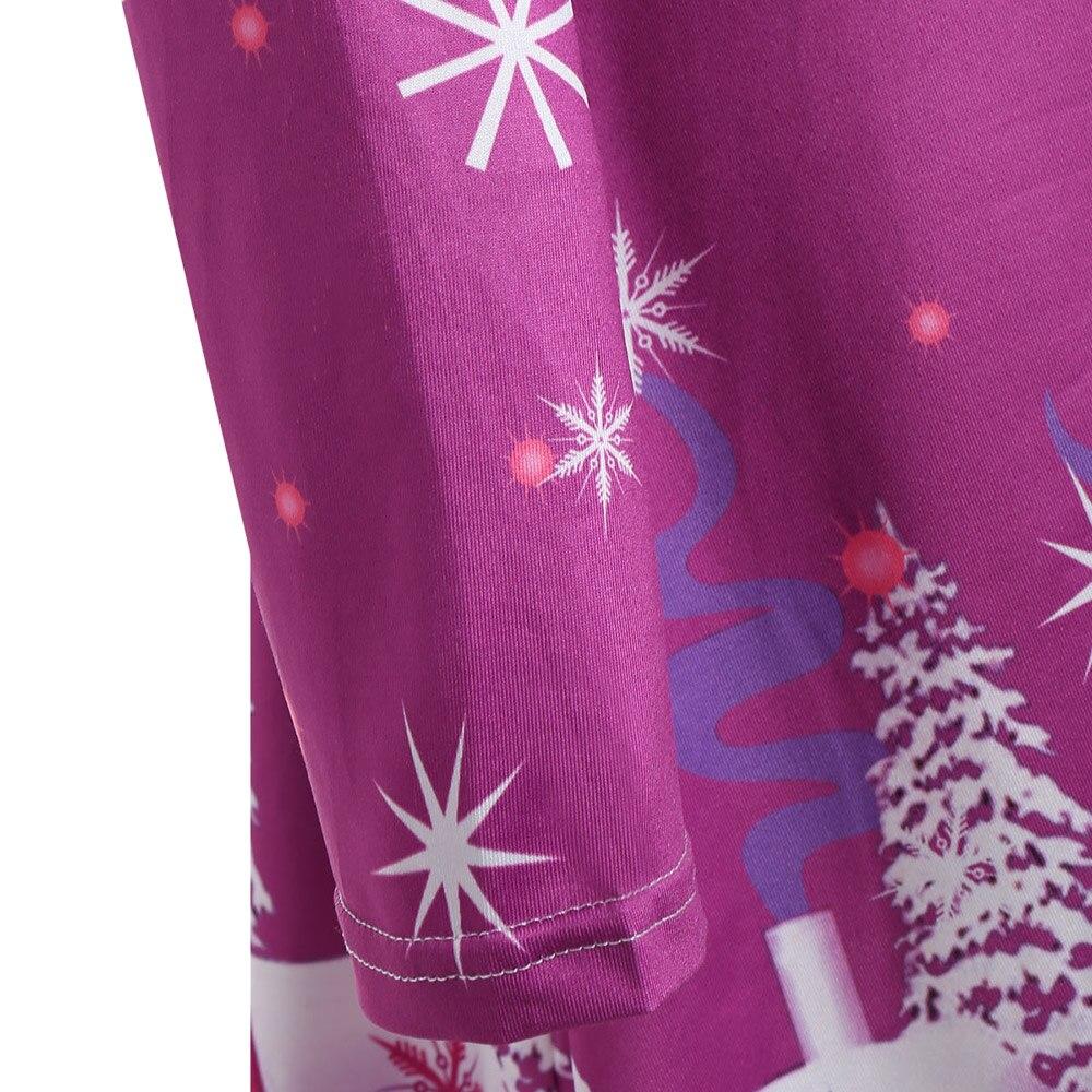 Wipalo Christmas Snowflake Sled Moon Print Plus Size 5XL T Shirt Dress  Christmas Party Dress V Neck Long Sleeve Tunic Dress f0b2b612d4ed