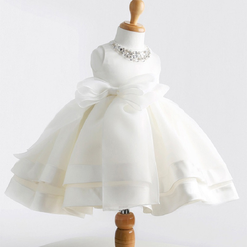 Online Shop High Quality White Elegant Flower Girls Dresses For Wedding Baby Girl Baptism Dress Lace Crystal 2 8 Year
