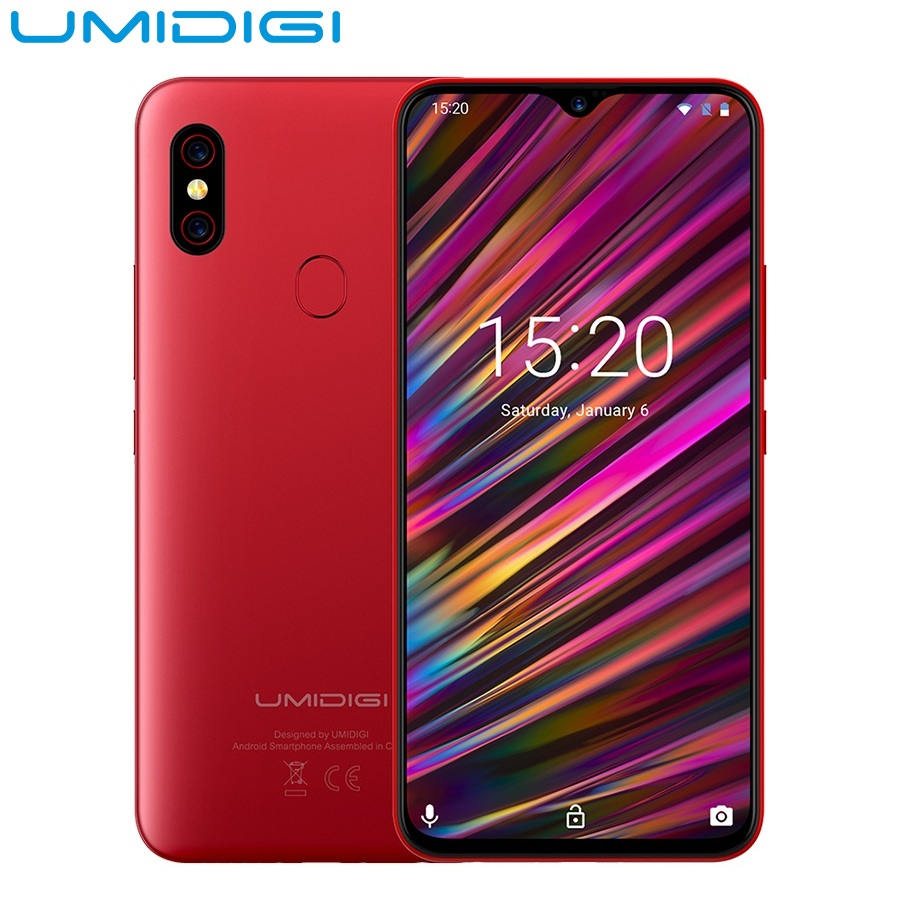 UMIDIGI F1 Play 6.3inch Android 9.0 4G Phablet Smartphone Helio P60 Octa Core 6GB RAM 64GB ROM 3-Camera Fingerprint Mobile Phone