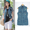 Vintage sleeveless denim vest female Korean fashion long design slim printed vest free shipping