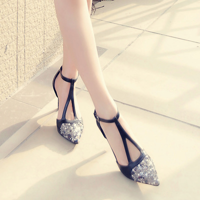 ФОТО Stylish Women Sandals Fashion Pointed Toe Thin Heels Sandals Black White Green Elegant Shoes Woman Us Size S3390