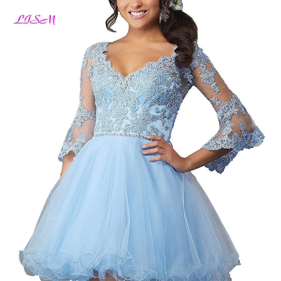 LISM V Neck Three Quarter Appliques Homecoming Dresses 2018 Short Beadings Organza Prom Dress Sexy Open Back Mini Party Dresses