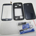 Black/white Full Housing Replacement Parts For Samsung Galaxy Grand Duos i9082 Middle Frame + battery case + Front glass + tools