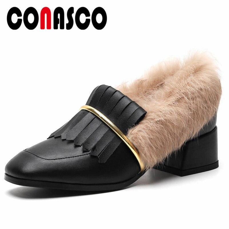 ccbb4b1ae8a Fourrure blanc Glands Cuir Véritable Glissent De Talons Chaussures Pompes  Épais Mariage Parti Conasco Qualité Femme Noir ...