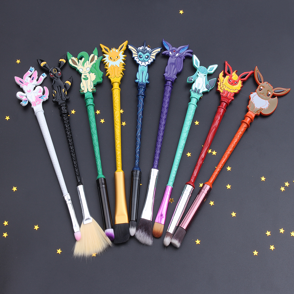 Free Shipping 9pcs Fashion Jewelry Pokemon Makeup Cosmetic Brushes Eye Shadow Foundation Eyebrow Lip Brush Makeup Brushes Tool