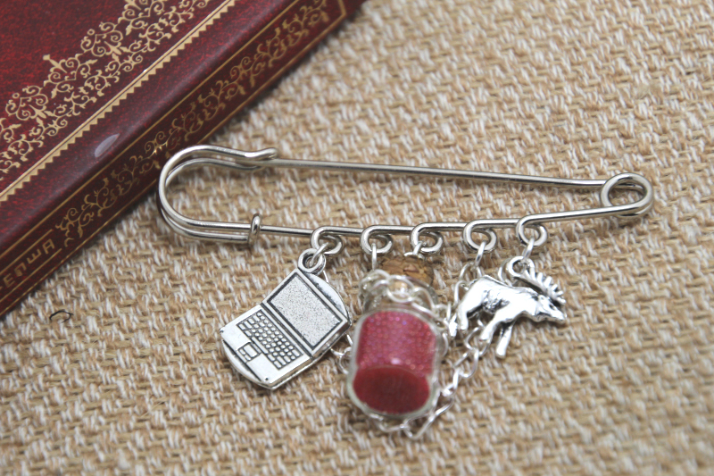 12pcs Supernatural inspired Sam Winchester themed charm with chain kilt pin brooch (50mm)