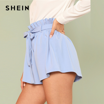 SHEIN Blue Vacation Boho Bohemian Beach Ruffle Trim Self Tie Elastic High Waist Belted Shorts Summer Women Casual Shorts 1