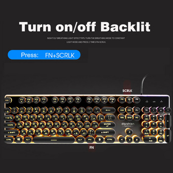 Steampunk Retro Gaming Keyboard Russian/English Layout Round Keycap Backlit USB Wired Glowing Metal Panel Crystal Border 5