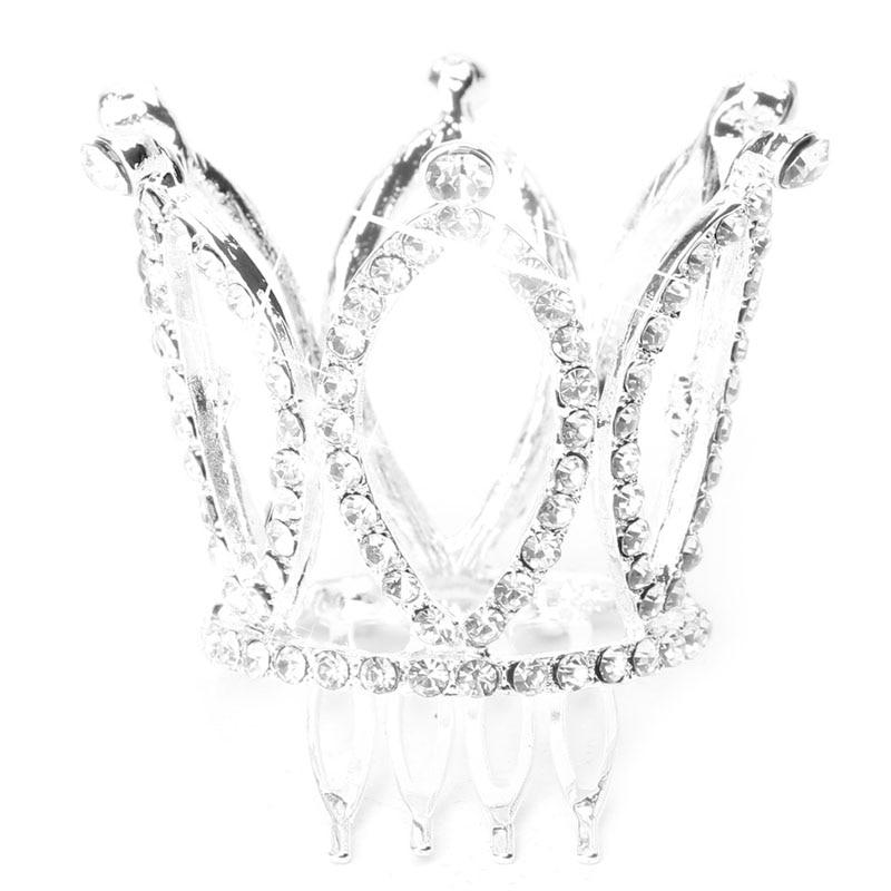 Children Flower Mini Rhinestone Tiara Women Girl Rhinestone Crown Bridal Tiara Hair Comb Pin,color
