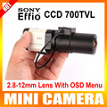 HD 1/3 Sony Effio-E CCD 700TVL D-WDR Bullet 2.8-12mm Lens OSD Digital Noise Reduction Box Security Mini Camera For 960H DVR
