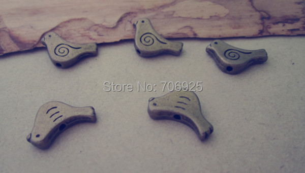 60pcslot  Antique Bronze bird necklace Charms Pendant 7mmx14mm