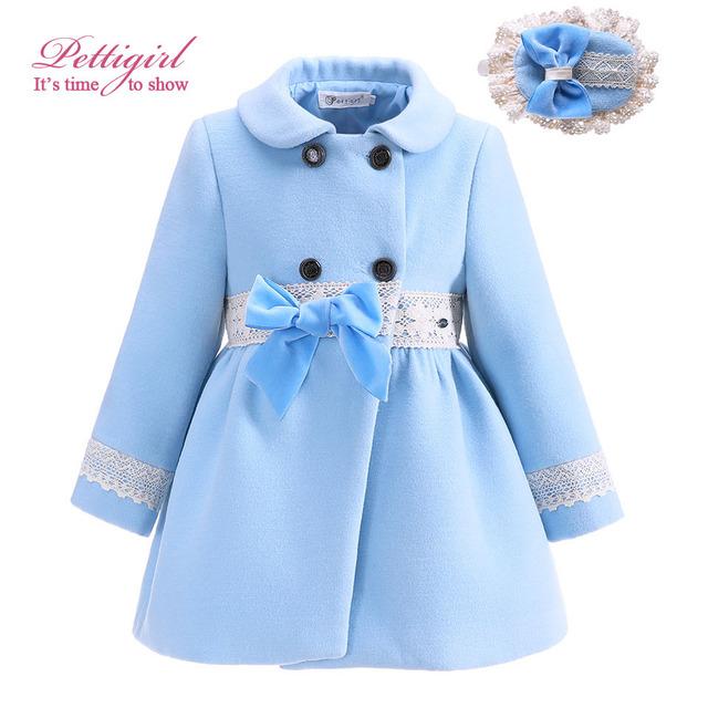 Pettigirl boutique otoño arco niña abrigos con abrigos niños moda prendas de abrigo chaqueta de las muchachas headwear g-dmoc908-1016