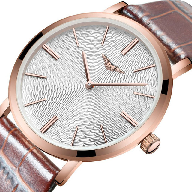 montre homme Mens Watches Top Brand Luxury GUANQIN Men ultra thin Wristwatch Leather Quartz Watch relogio masculino