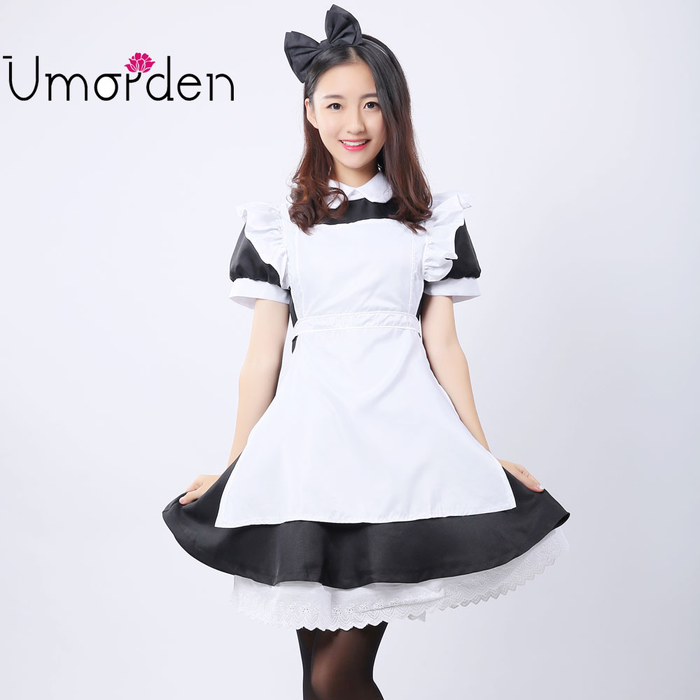 Umorden Black White Women Girl Maid Maids Pakaian Cosplay Lolita Dress Alice in Wonderland Costumes Costumes