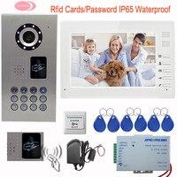 Interfono via cavo Per La Casa Privata Elettronico Doorkeeper IP65 Impermeabile Video Citofono Sistemi Rfid Cards 7 '' TFT LCD Monitor