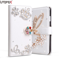 For IPhone4 Luxury Wallet Stand Flip PU Leather Diamond Bowknot Case For Apple IPhone 4 4s